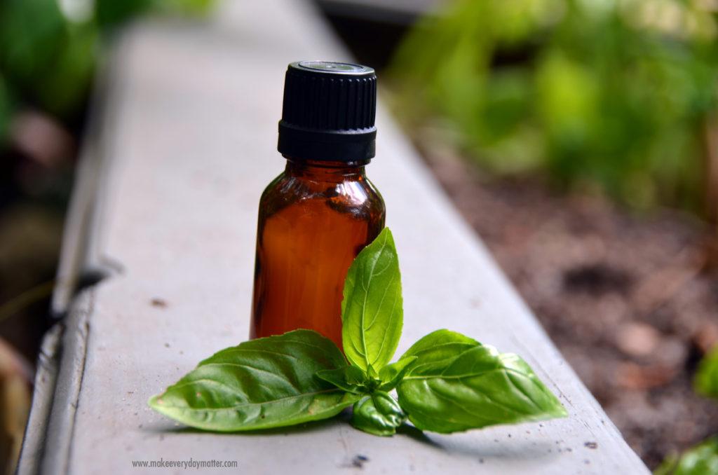 Basil oil bottle watermark